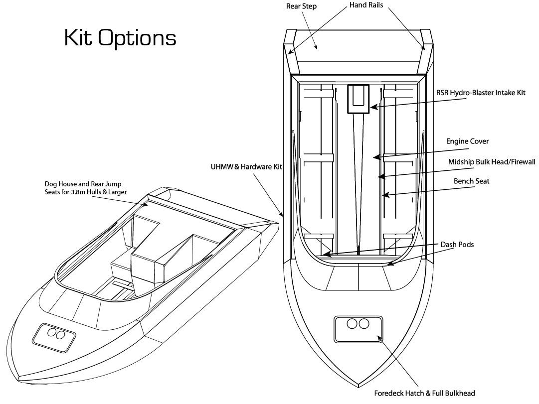 3m wattscraft jet boat hull kit set
